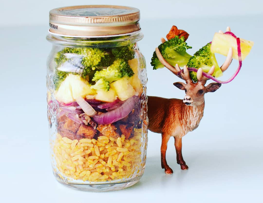 Pineapple rice in a jar